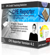 Continuing Professional Education CPE credit tracking, CPE credit compliance checking and CPE credit reporting solution - the easy way to track CPE credit and CPE seminar information for hundreds of professionals. Track credits for the Boards of Accountancy, AICPA, IRS Enrolled Agents, Certified Internal Auditors (CIA), etc.